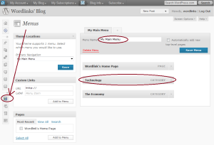 Wordpress Menu page